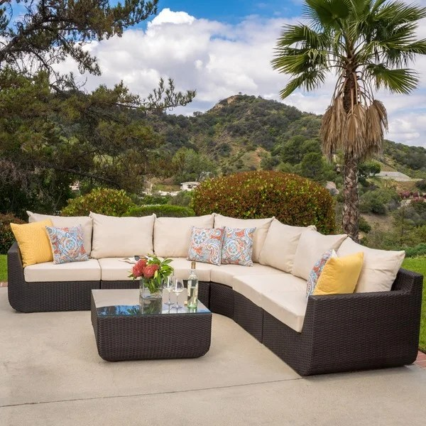 Shop Carmel Outdoor 7-piece Outdoor Sectional Sofa Set ... on Outdoor Loveseat Sets  id=12199