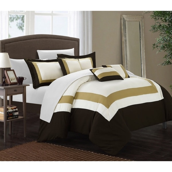 copper grove minesing gold brown white 10 piece bed in a bag with sheet set