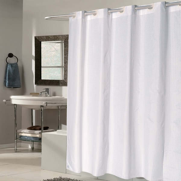 Shop EZ On White Check Fabric Shower Curtain Liner With Built In Hooks 70 X 75 On Sale