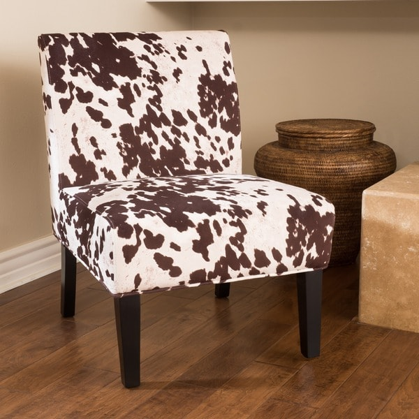 Saloon Fabric Cowhide Print Chair By Christopher Knight