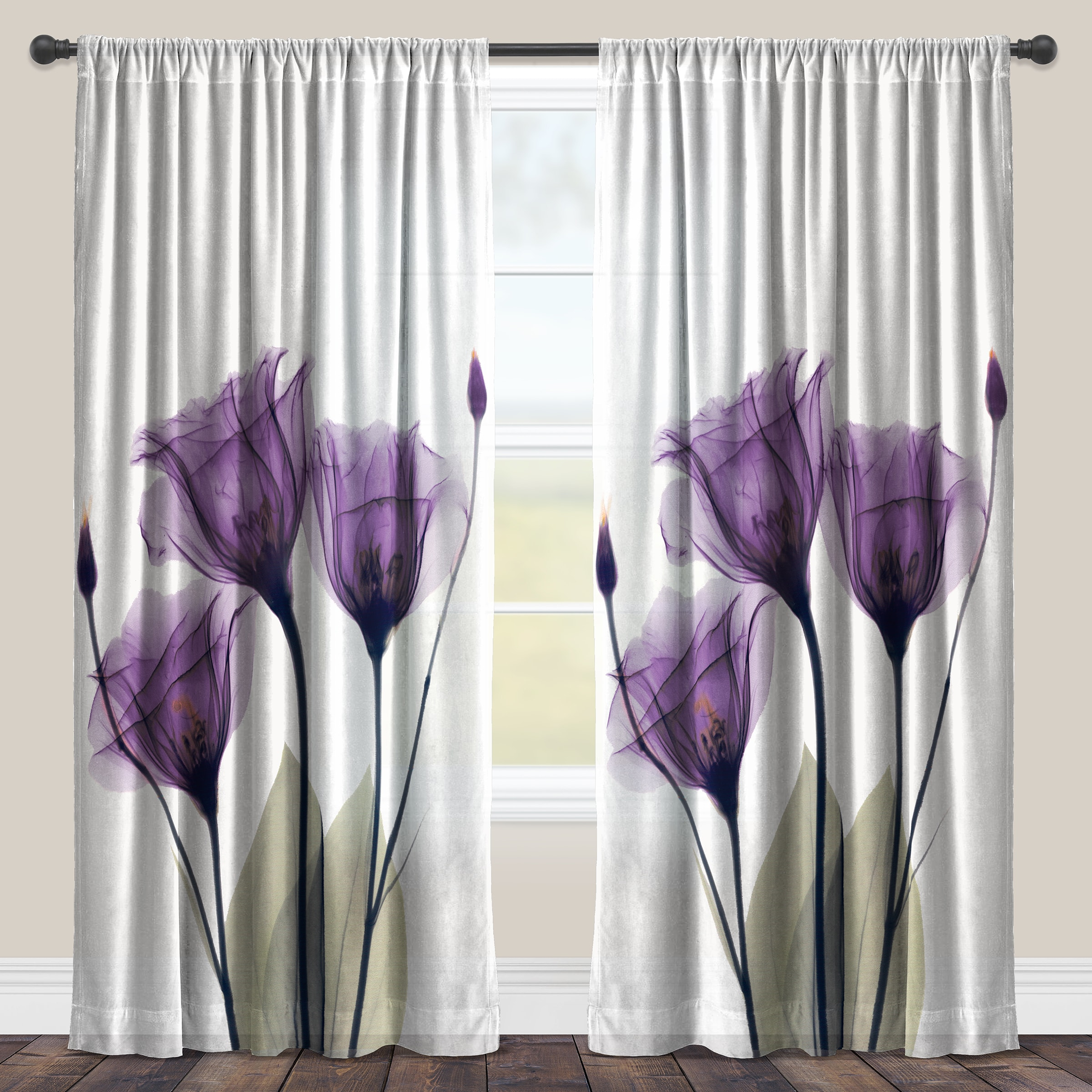 laural home lavender floral x ray sheer curtain panel single panel