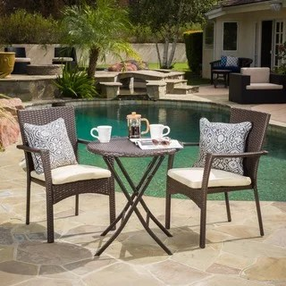 Buy Outdoor Bistro Sets Online at Overstock com   Our Best Patio     Elba Outdoor 3 piece Wicker Bistro Set with Cushions by Christopher Knight  Home