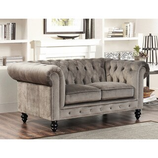 Classic Scroll Arm Tufted Velvet Chesterfield Accent Chair
