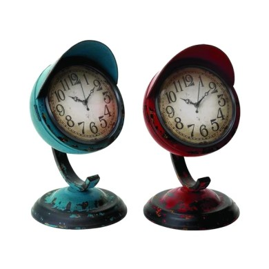 Shop Red Blue Distressed Metal Decorative Table Clocks  Set Of 2     Red Blue Distressed Metal Decorative Table Clocks  Set Of 2