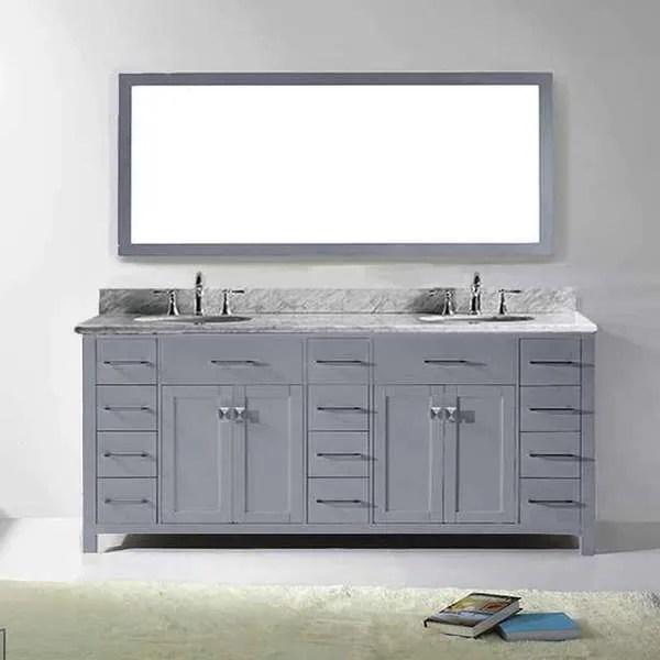 virtu usa caroline parkway 78 inch grey double bathroom vanity set with white marble top