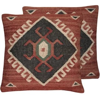 Herat Oriental Indo Handmade Wool & Jute Kilim Pillows (Set of Two)