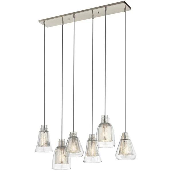 Kichler Lighting Evie Collection 6 Light Brushed Nickel Linear Chandelier