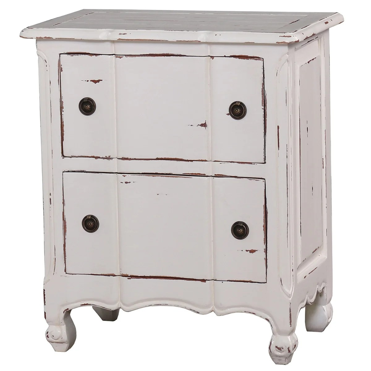 bramble co provence 2 drawer white distressed mahogany nightstand