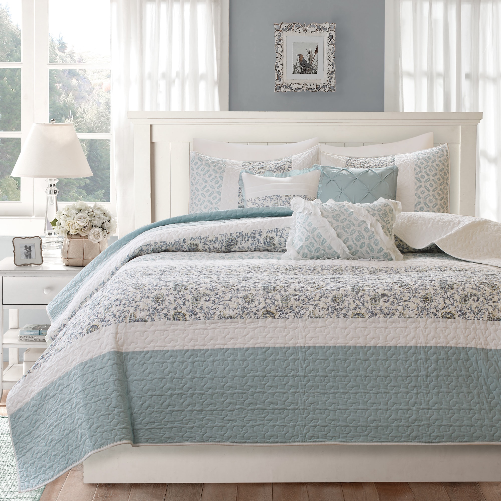 Shop Madison Park Vanessa Blue Cotton Quilted 6 Piece