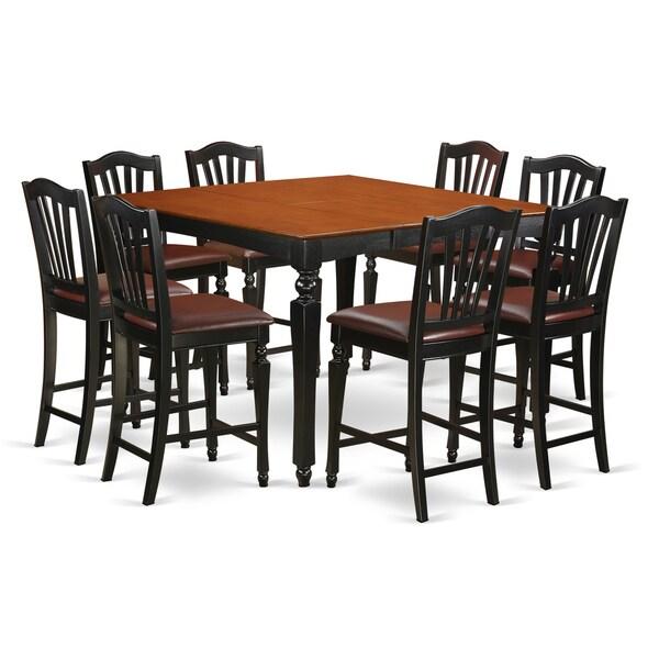 Shop Black Rubberwood Square Pub Table With 8 Counter