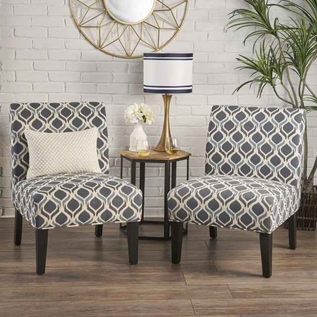 Accent Chairs For Living Room Set Of 2 Soft Sturdy Armless ...