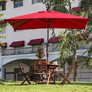 Buy Size 9 ft Patio Umbrellas Online at Overstock com   Our Best     Abba Patio Dark Red Aluminum Steel Polyester 7  x 9  Rectangular Solar