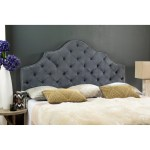 Shop Black Friday Deals On Safavieh Arebelle Grey Upholstered Tufted Headboard Silver Nailhead King Overstock 12014934