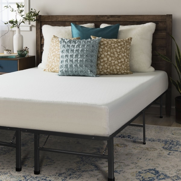 Crown Comfort 8 Inch Queen Size Bed Frame And Memory Foam Mattress Set