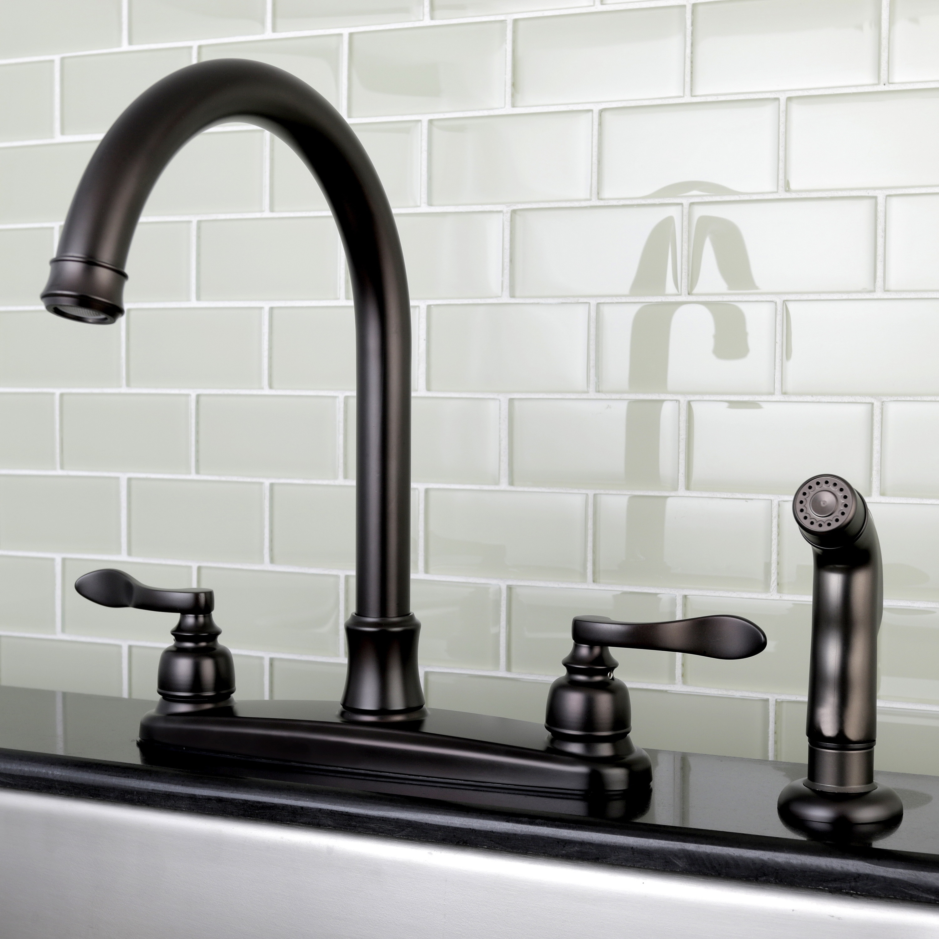 designer oil rubbed bronze kitchen faucet with side sprayer