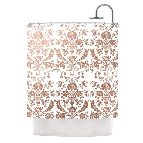 Shop KESS InHouse KESS Original Baroque Rose Gold Shower Curtain 69x70 Free Shipping Today