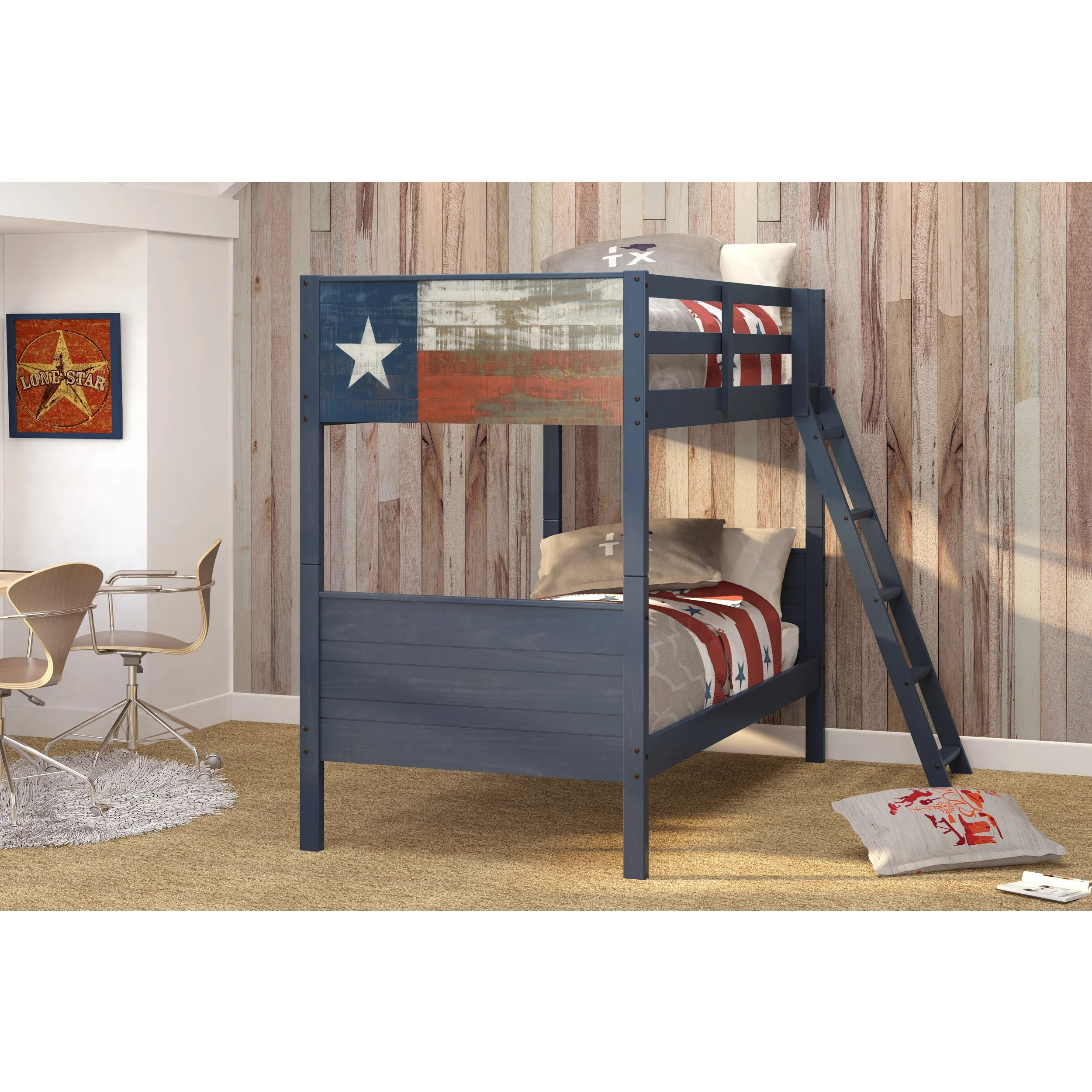 Donco Kids Lonestar Blue Pine Wood Twin Over Twin Bunk Bed Overstock 12108855