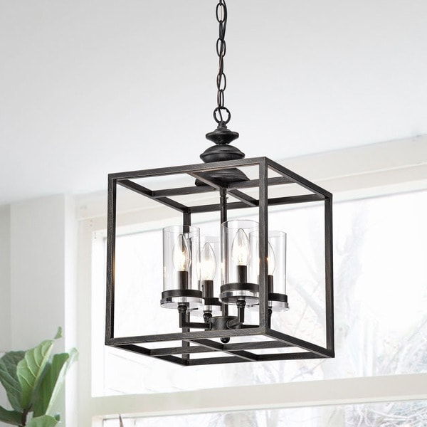La Pedriza 4 Light Antique Black Lantern Chandelier With Clear Glass Cylinders