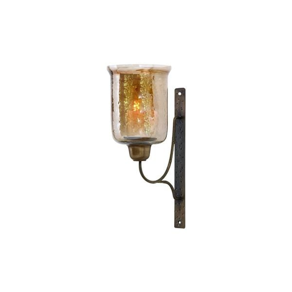Metal and Glass Wall Mount Candle Sconce - Free Shipping ... on Wall Mounted Candle Sconce id=18072