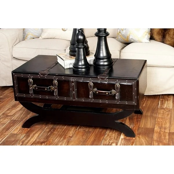 Shop Traditional 21 Inch Leather Coffee Table With Drawers By Studio 350 On Sale Overstock 12204580
