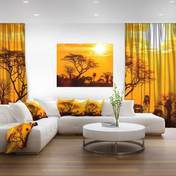 Shop Orange Glow Of African Sunset Extra Large Wall Art Landscape Gold On Sale Overstock 12209722