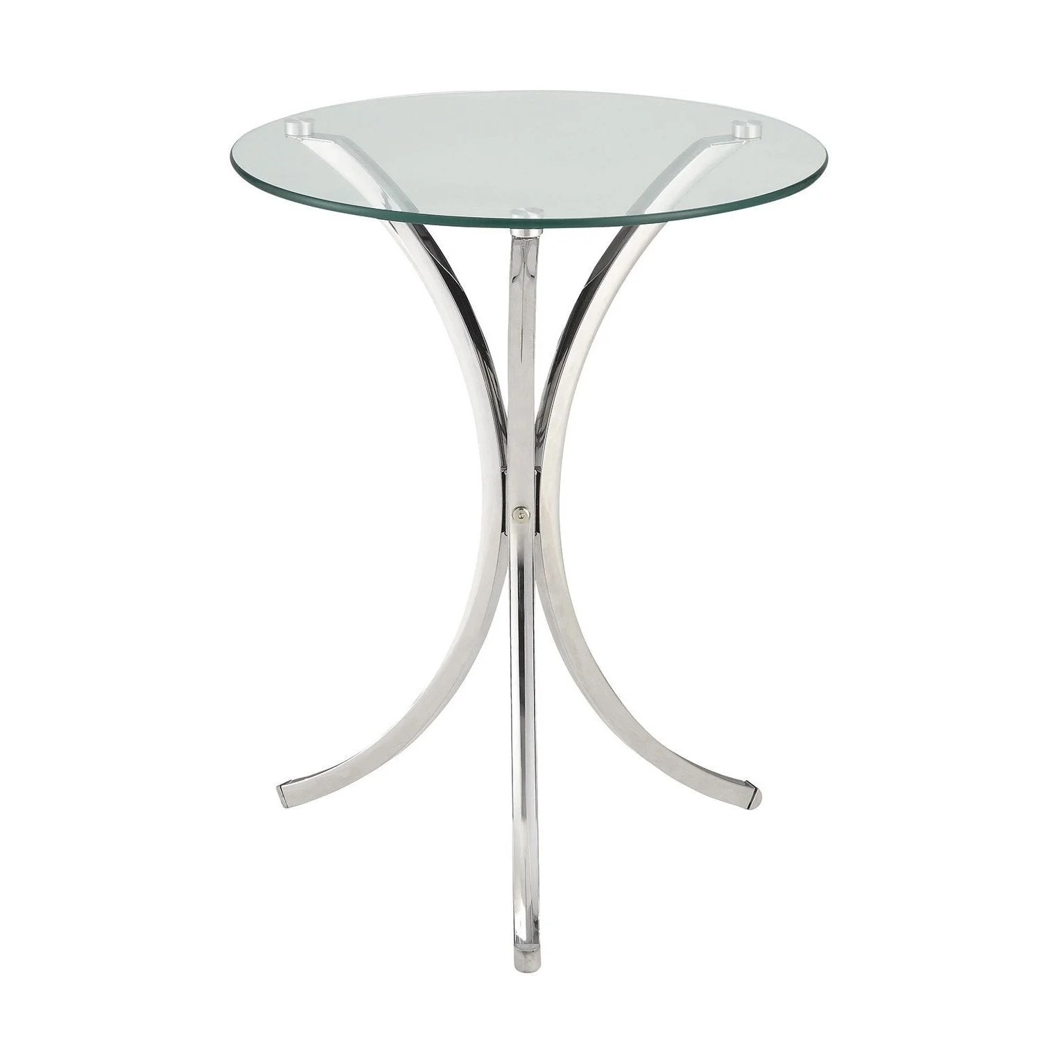 Coaster Company Chrome And Tempered Glass Snack Table 22 75 X 18