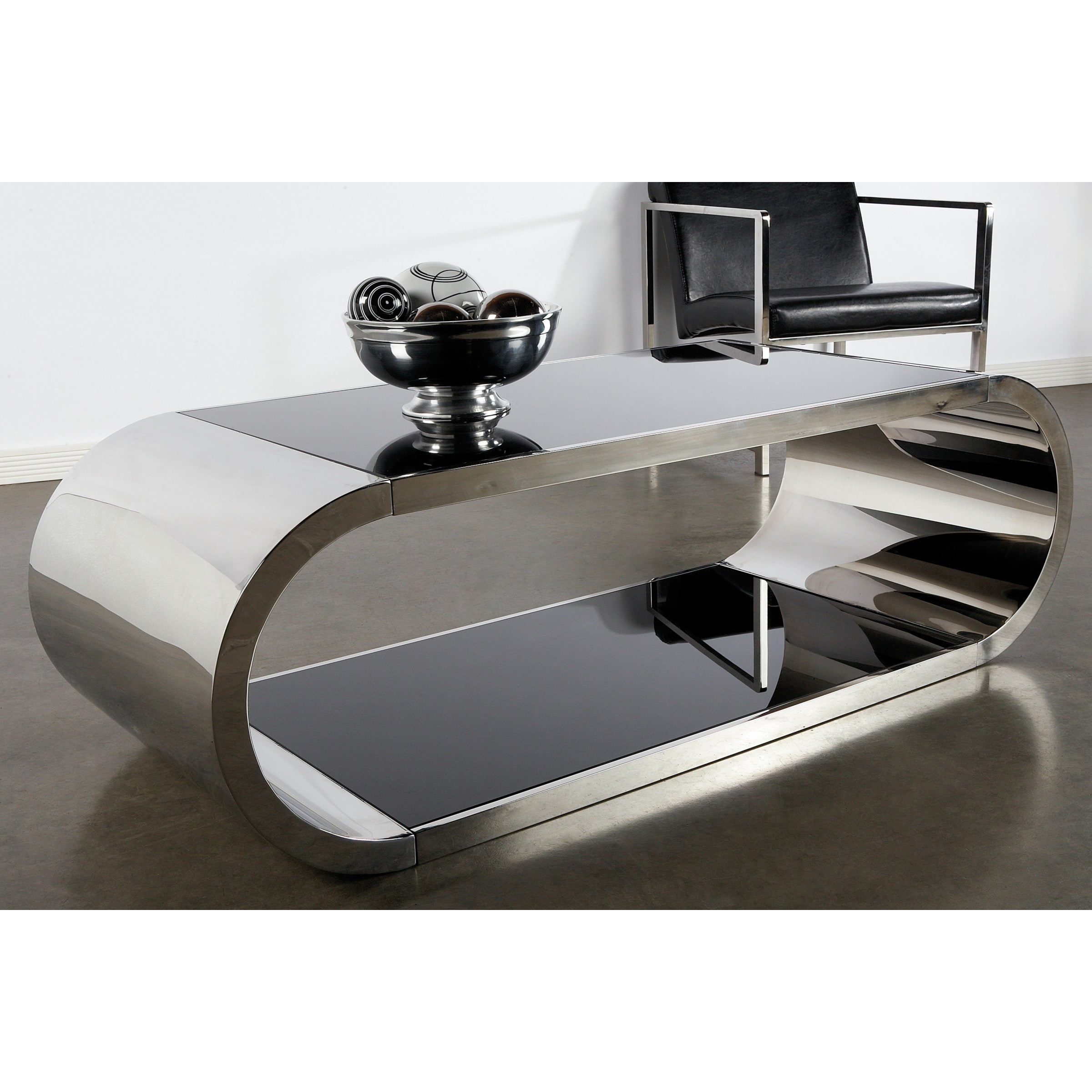 statements by j pia modern steel and glass coffee table