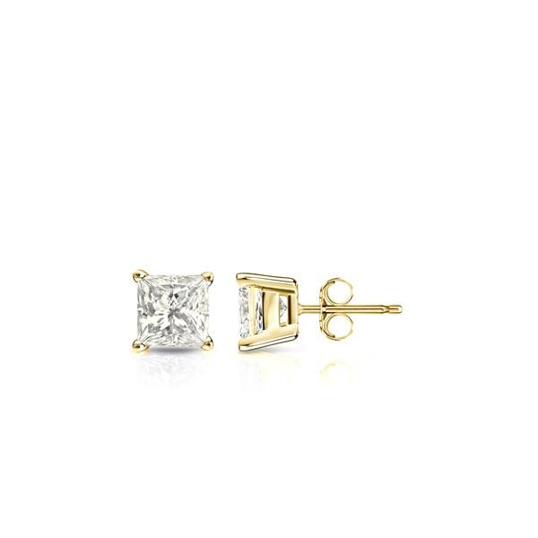 Ct Cut 4 White Diamond Princess Tw 3 10k Gold Earrings