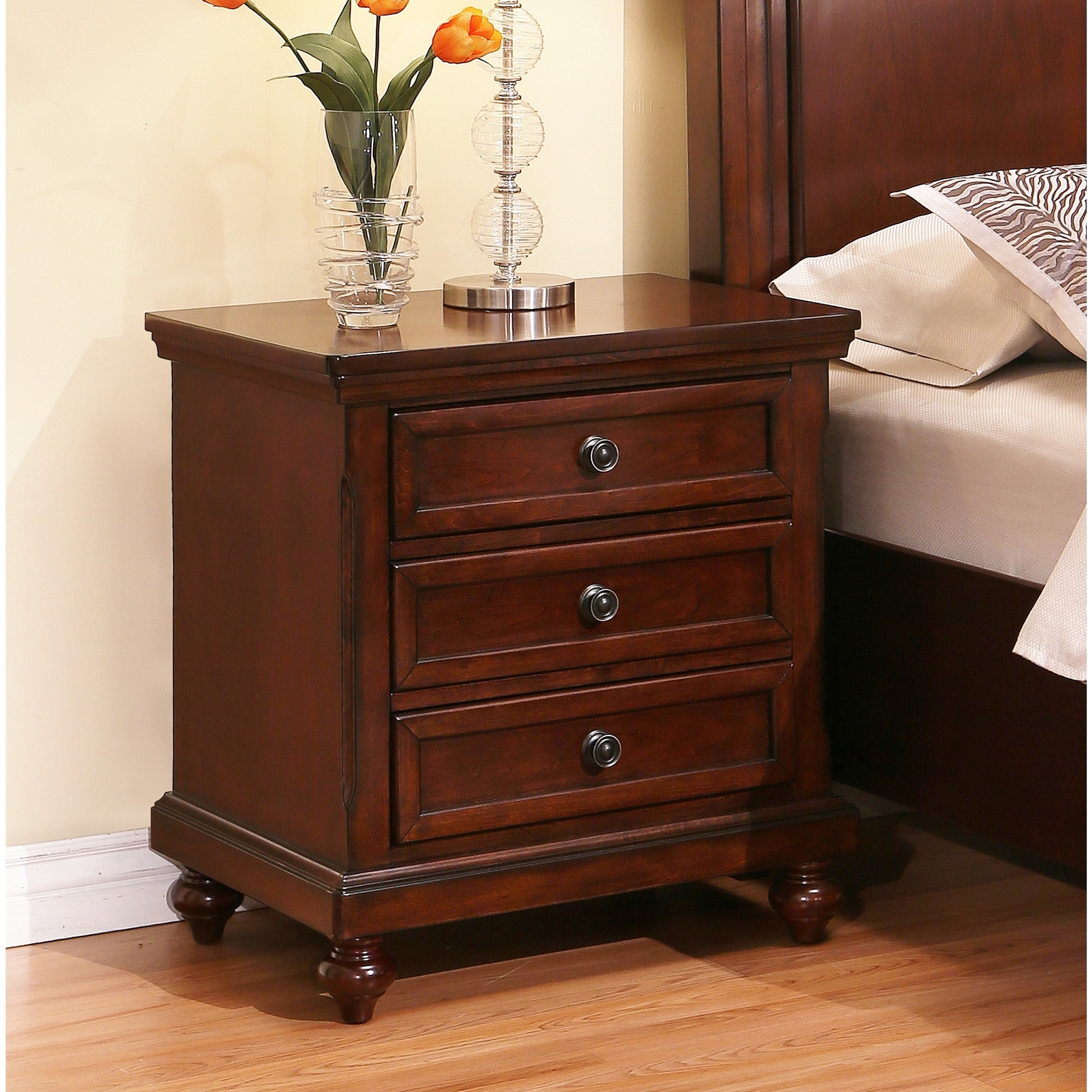 abbyson caprice cherry wood 3 drawer nightstand