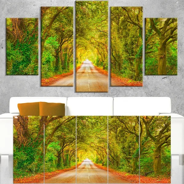 Shop Fall Greenery And Road Straight Ahead Oversized Forest Canvas Art Green Free Shipping