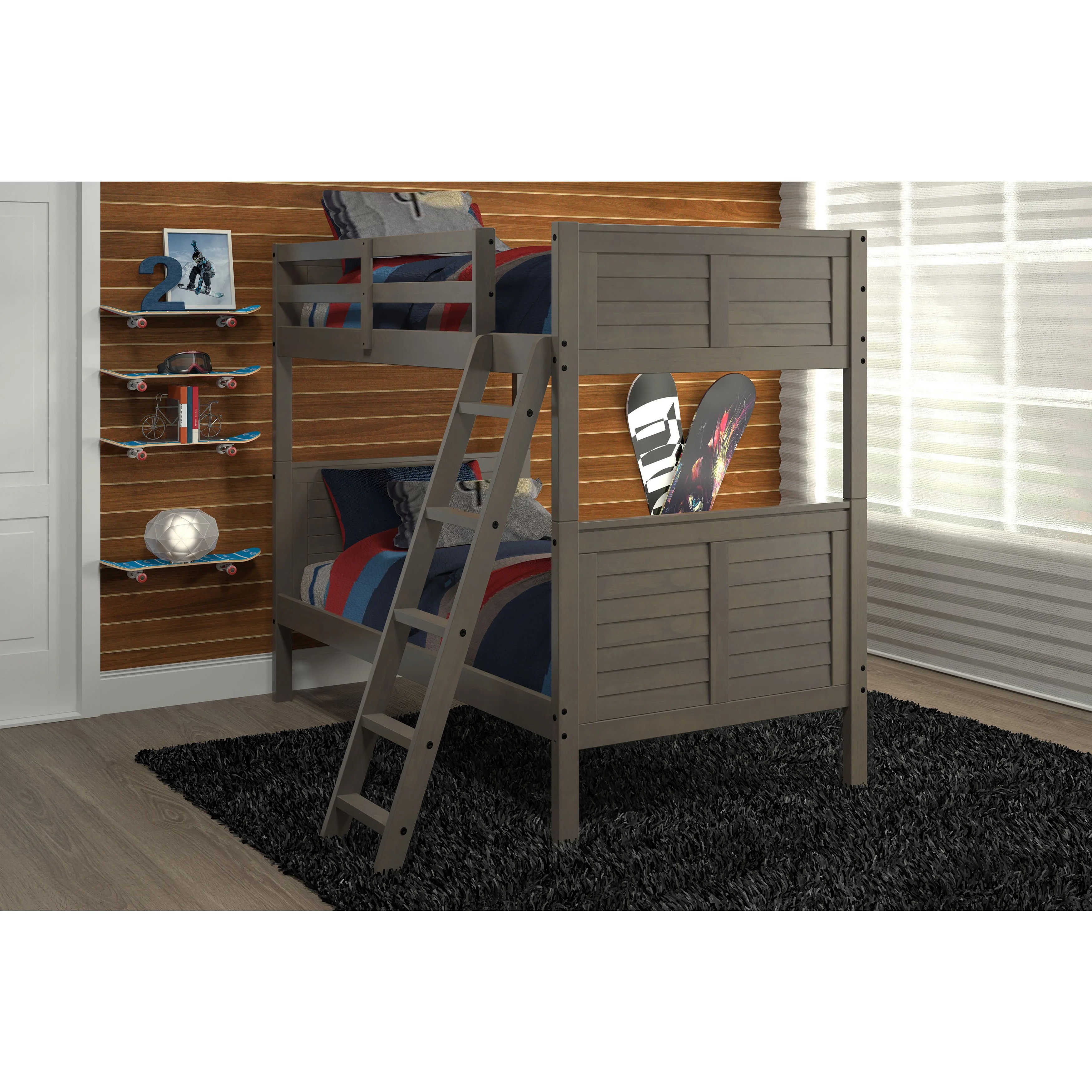 Pine Ridge Gray Louvered Bunk Bed Overstock 12328423