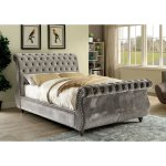 Furniture Of America Cown Contemporary Flannelette Tufted Sleigh Bed On Sale Overstock 12332405
