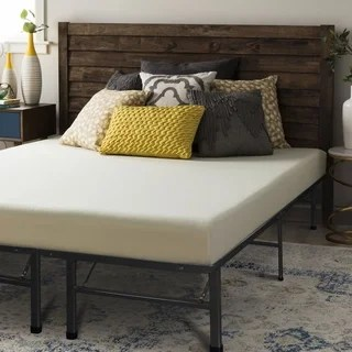 Crown Comfort 6 Inch Full Size Bed Frame And Memory Foam Mattress Set