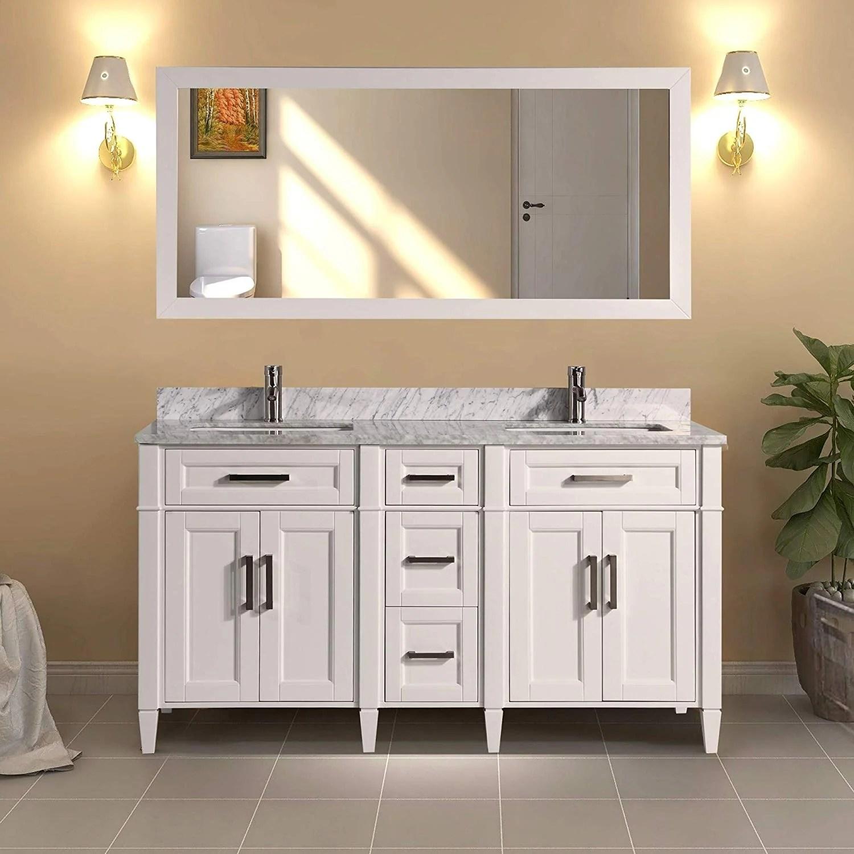 vanity art 60 inch double sink bathroom vanity set carrara marble stone top soft closing doors undermount sink with free mirror