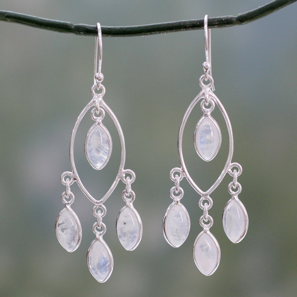 Handcrafted Sterling Silver X27 Luminous Dew Rainbow Moonstone Chandelier Earrings