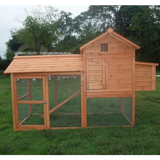 pawhut deluxe backyard chicken coop hen house with outdoor run 60 75 h x 82