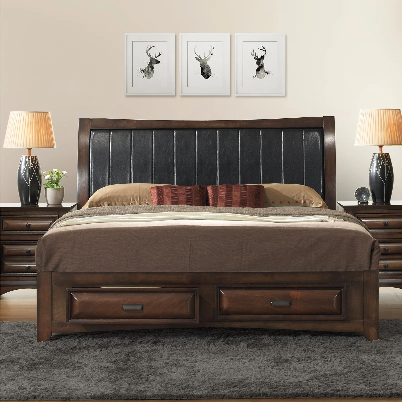 Broval Light Espresso Wood King Size Storage Platform Bed Overstock 12592555