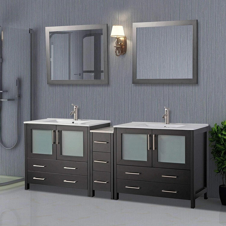 vanity art 84 inch double sink bathroom vanity set 7 drawers 3 cabinets 2 shelves soft closing doors with free mirror