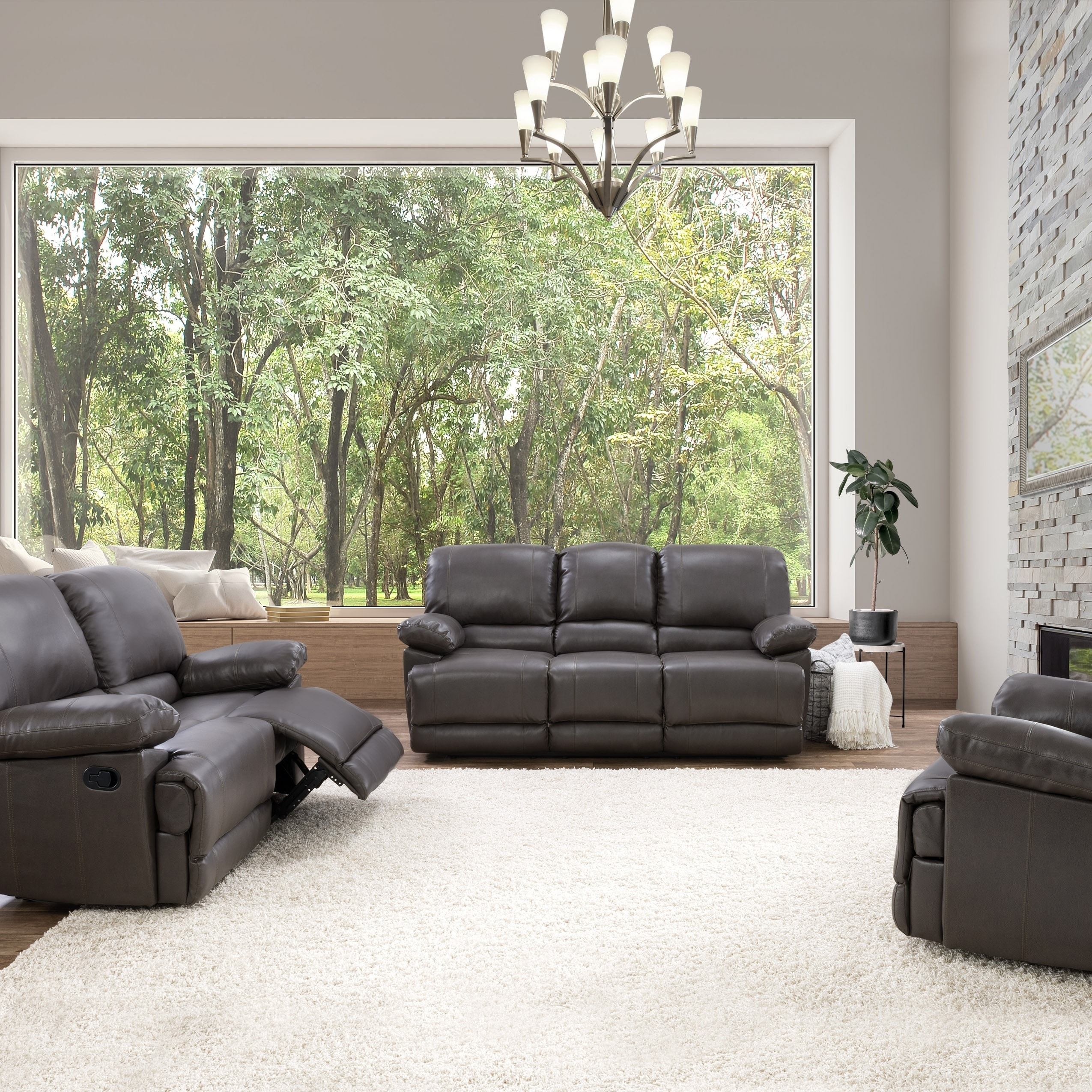 Corliving Lea 3 Piece Bonded Leather Reclining Sofa Set