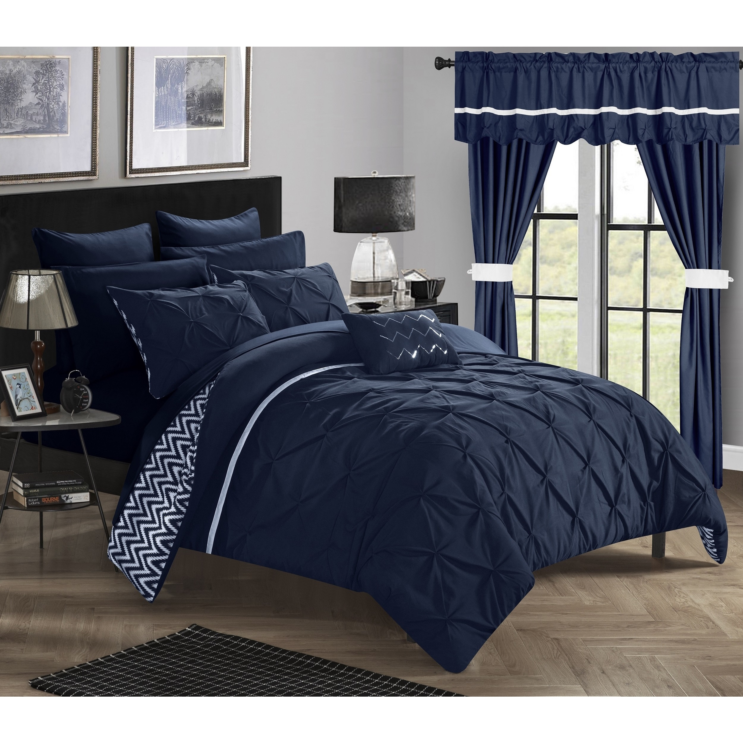 porch den red cliff navy 20 piece bed in a bag with curtains set