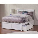 Madison Full Platform Bed With Flat Panel Foot Board And 2 Urban Bed Drawers In White On Sale Overstock 12852078