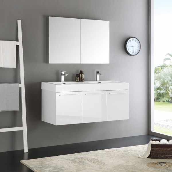 Shop Fresca Vista White 48-inch Wall Hung Double Sink ...