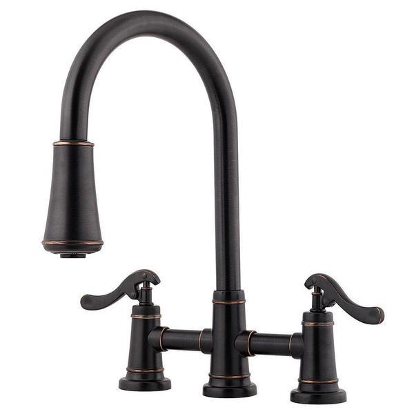 pfister ashfield 2 handle pull down sprayer kitchen faucet in tuscan bronze