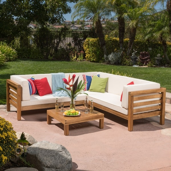 Shop Oana Outdoor 5 Seater V Shaped Acacia Wood Sectional ... on Outdoor Loveseat Sets  id=25412