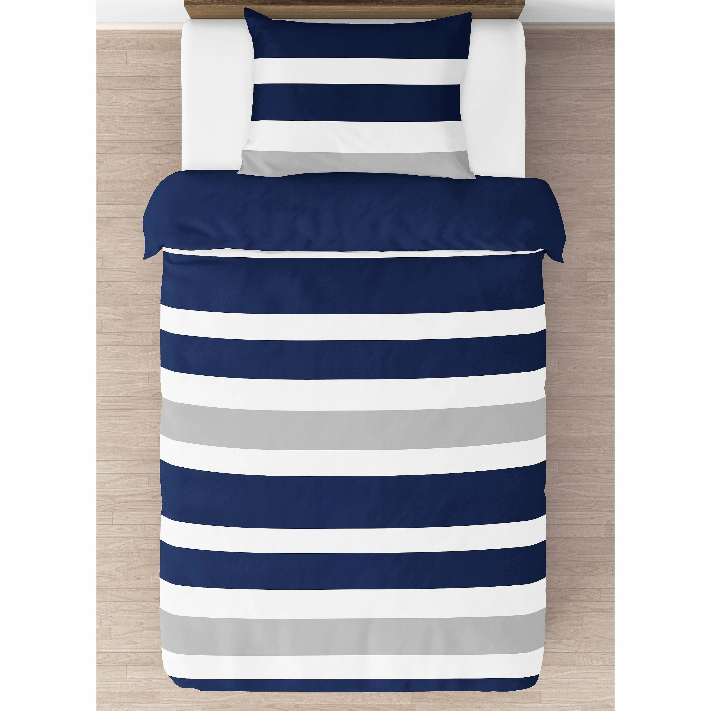 sweet jojo designs navy blue and gray stripe 4 piece twin comforter set