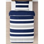 Sweet Jojo Designs Navy Blue And Gray Stripe 4 Piece Twin Comforter Set Overstock 12990821
