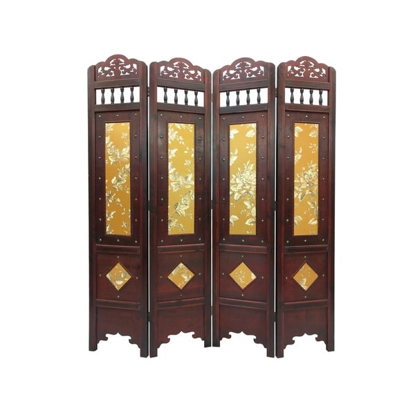 Shop Vintage Gold Leaves Wood 6 Foot Tall Room Divider Screen Overstock 13001714