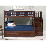 Columbia Staircase Bunk Bed Full Over Full With Twin Sized Raised Panel Trundle Bed In Walnut On Sale Overstock 13049017