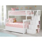 Columbia Staircase Bunk Bed Twin Over Full With Twin Size Raised Panel Trundle Bed In White Overstock 13049111