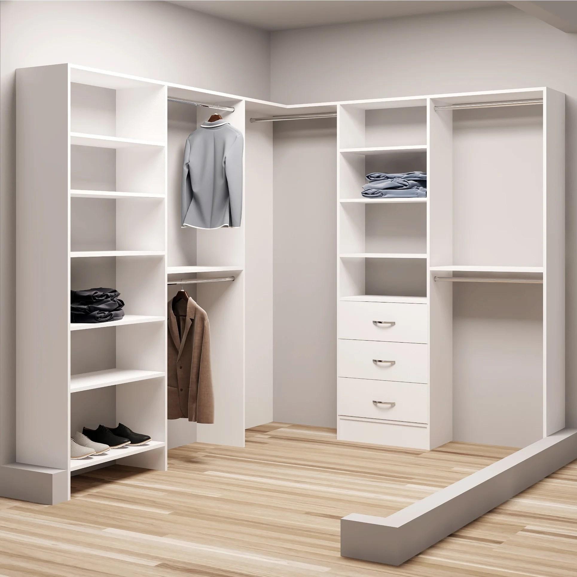 Tidysquares White Wood 81 X 102 25 Walk In Closet System